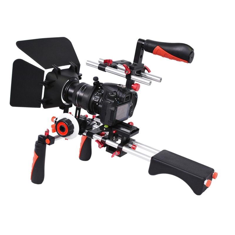 YELANGU D230-3 C-Vormig Camera Schouderstatief met Matte Box & Volg Focus Set voor DSLR & DV Digitale Video of andere camera met 1/4 inch schroefverbinding (rood)