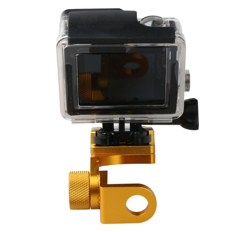 Motorfiets Rearview spiegel CNC aluminiumlegering Stent vaste beugel houder voor GoPro HERO4 /3+ /3  Xiaomi Xiaoyi  SJCAM Camera(Goud)