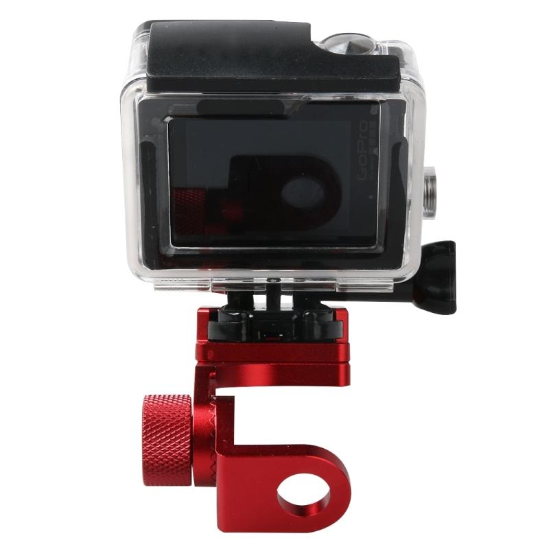 Motorfiets Rearview spiegel CNC aluminiumlegering Stent vaste beugel houder voor GoPro HERO4 /3+ /3  Xiaomi Xiaoyi  SJCAM Camera(rood)