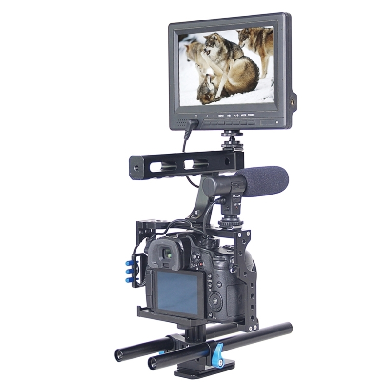 YELANGU YLG0904A Video Camera Kooi Stabilisator met Handgreep voor Panasonic Lumix DMC-GH4 / Sony A7 & A7S & A7R & A7RII & A7SII