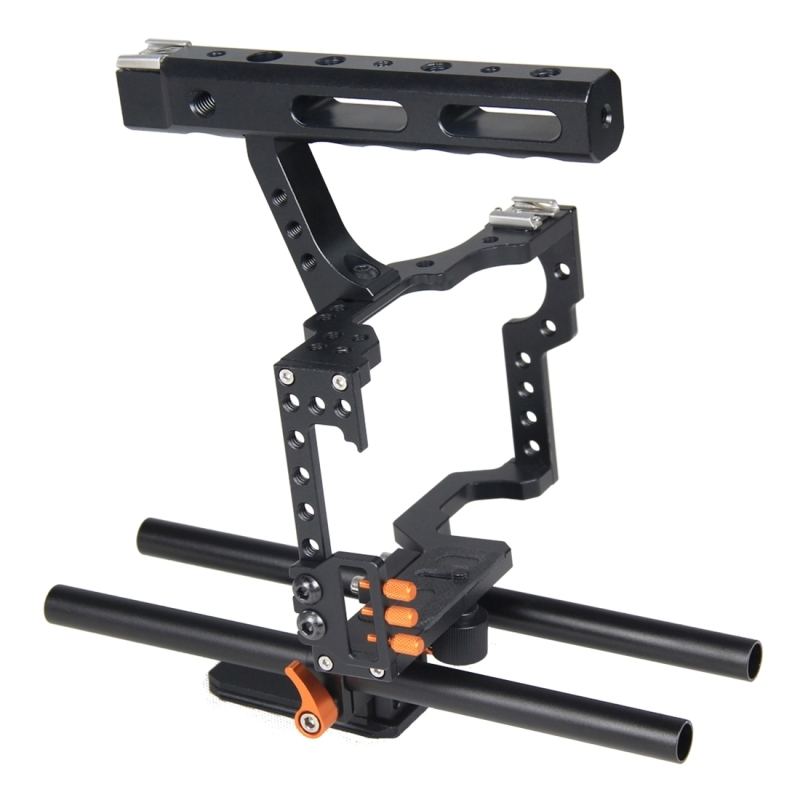YELANGU YLG0904A-C Video Camera Kooi Stabilisator met Handgreep voor Panasonic Lumix DMC-GH4 / Sony A7 & A7S & A7R & A7RII & A7SII (Oranje)