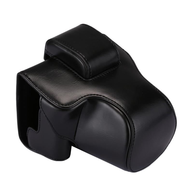 Full Body Camera PU lederen Case tas met riem voor Canon EOS M5 (zwart)