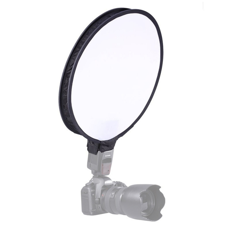 30cm Universele Ronde Opvouwbare Flitslicht Soft Box  is zonder Flitser houder (zwart + wit)