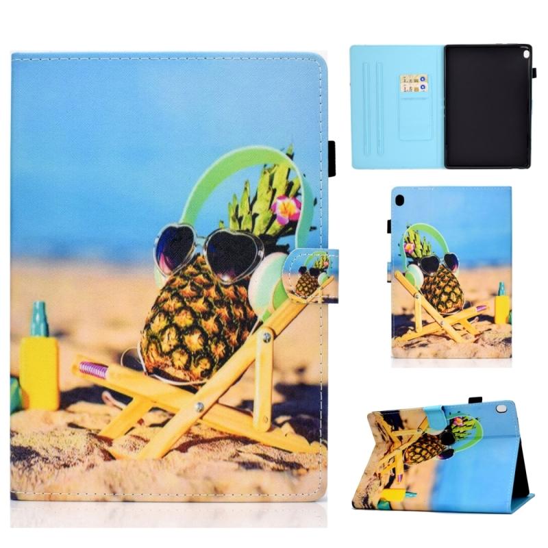 Voor Lenovo Tab M10 HD TB-X505F Gekleurde tekening stiksels horizontale flip lederen behuizing  met Holder & Card Slots & Sleep / Wake-up Functie(Pineapple)