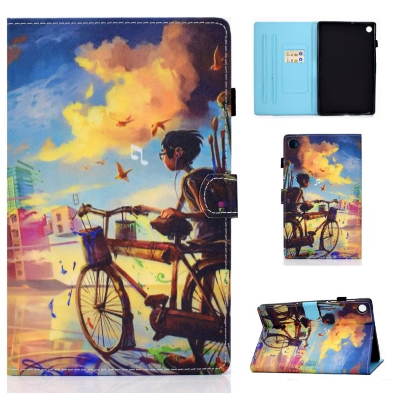 Voor Lenovo Tab M10 Plus TB-X606F Gekleurde tekening stiksels horizontale flip lederen behuizing  met Holder & Card Slots & Sleep / Wake-up Functie(Cycling Boy)