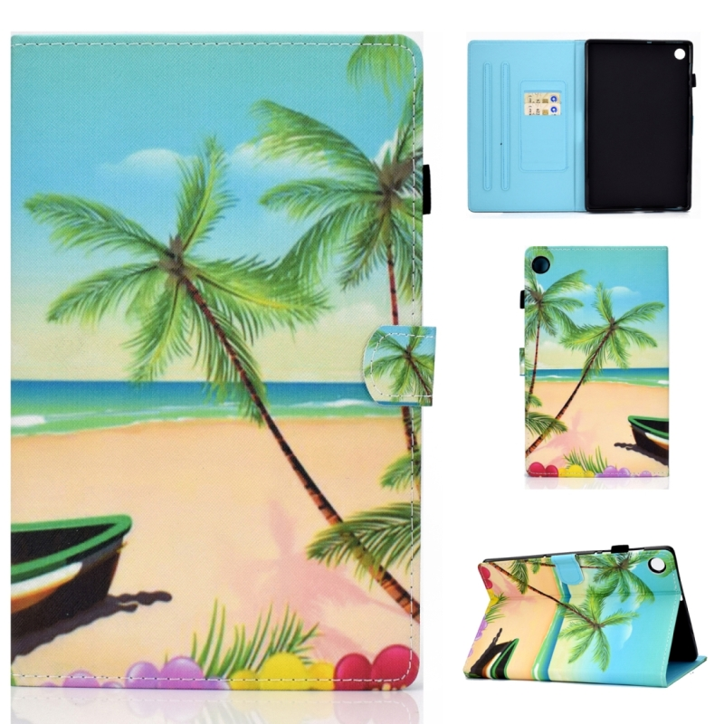 Voor Lenovo Tab M10 Plus TB-X606F Gekleurde tekening stiksels horizontale flip lederen behuizing  met Holder & Card Slots & Sleep / Wake-up Functie(Strand)