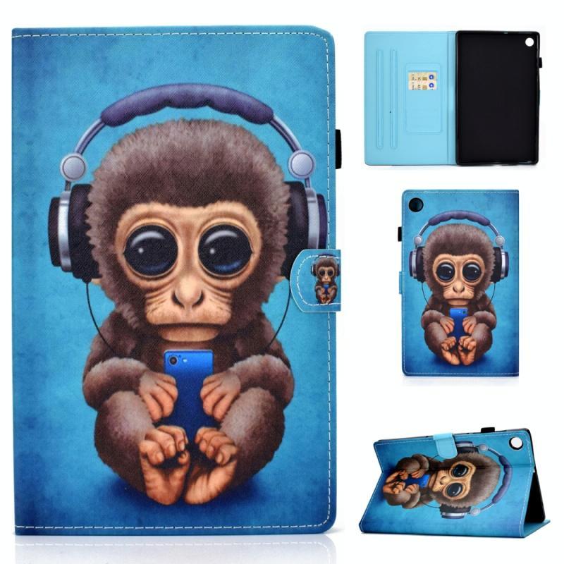 Voor Lenovo Tab M10 Plus TB-X606 Gekleurde tekening stiksels horizontale flip lederen behuizing  met Holder & Card Slots & Sleep / Wake-up Functie (Headphone Monkey)