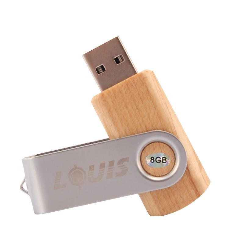 Afbeelding van LOUIS 8GB USB 2.0 Mini draaibare houten Flash Disk Drive voor Laptop en PC Computer