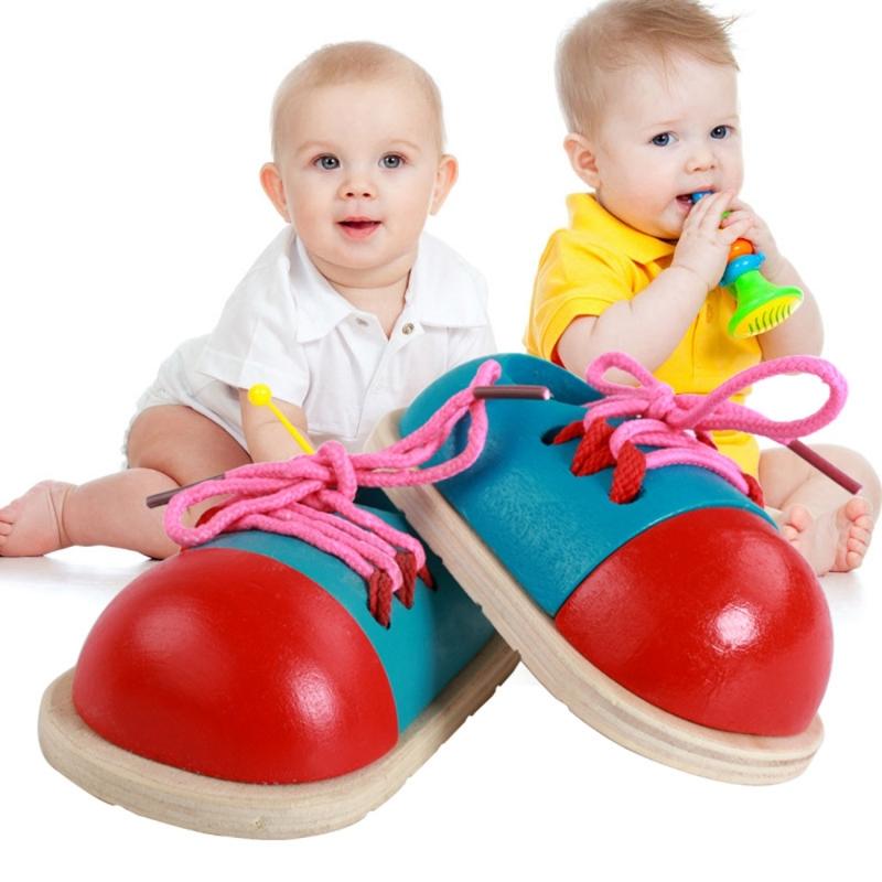 Afbeelding van 1 paar Educational Kids speelgoed houten schoenveter koppelverkoop praktijk speelgoed