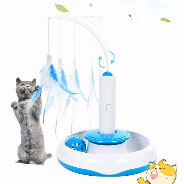 Afbeelding van Dierbenodigdheden kat speelgoed elektrische roterende 360 graden Feather interactieve speelgoed grappige kat Stick grootte: 18 * 17cm