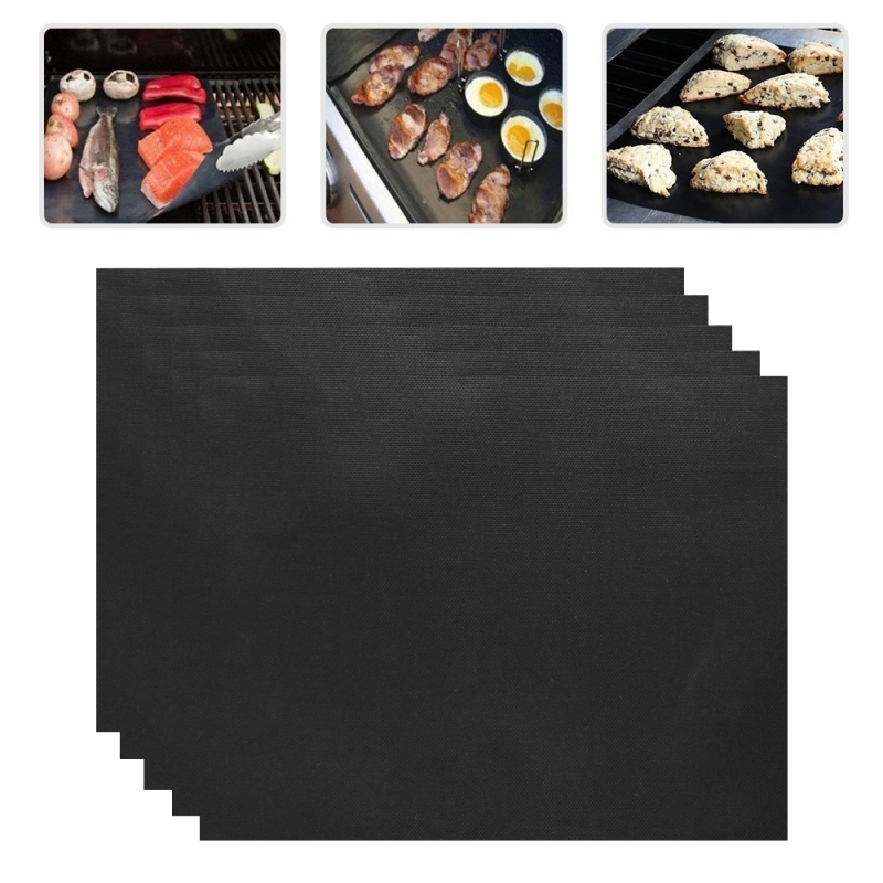 5 PCS 0.2mm Thick Barbecue Grill Mat Non-Stick BBQ Grill Mats  Afmeting:40*33CM(zwart)