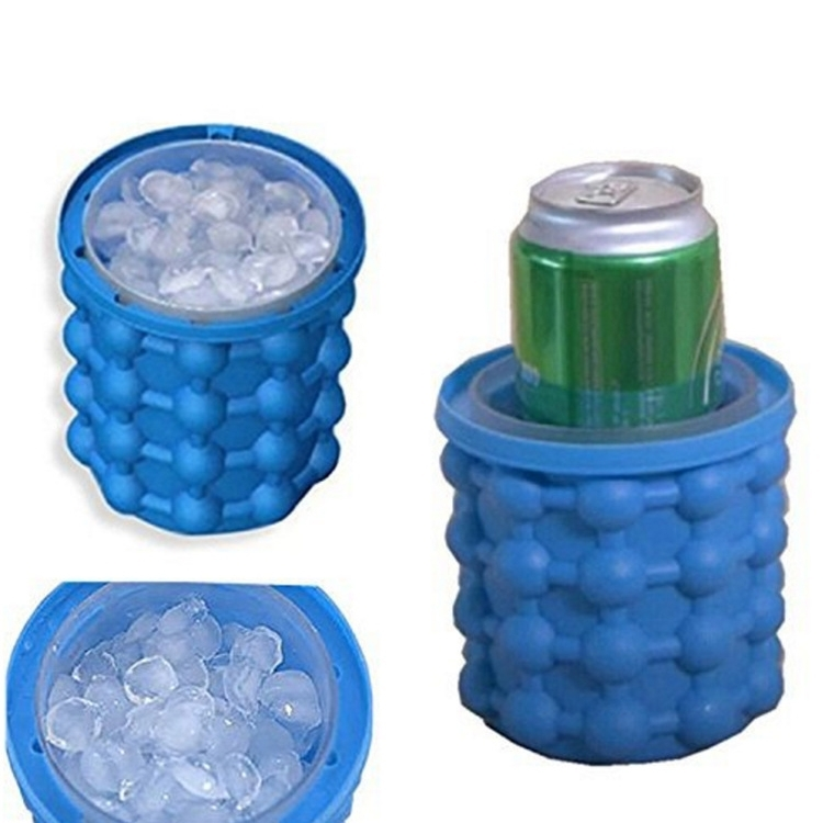 Silicone + PP Saving Ice Cube Maker Ice Bucket  Size: 14.5*13*13cm