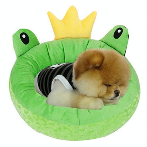 Afbeelding van Pet Supplies Four Seasons afneembaar Pets Nest Cute Cartoon frog Round Shape Cat Dog Nest Bed Small Afmeting:38*38*15cm(groen)