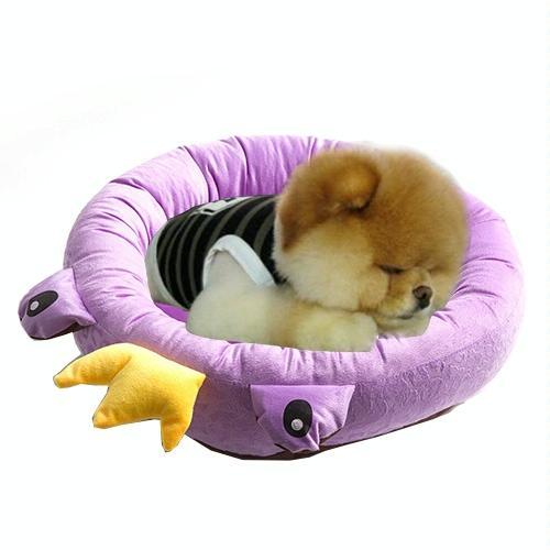 Afbeelding van Pet Supplies Four Seasons afneembaar Pets Nest Cute Cartoon frog Round Shape Cat Dog Nest Bed Small Afmeting:38*38*15cm(paars)