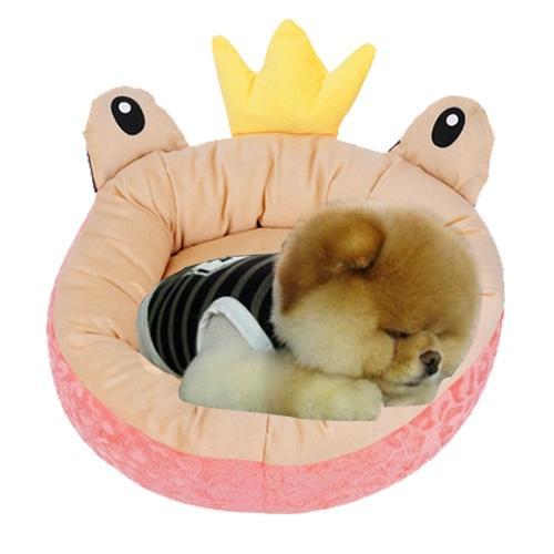 Afbeelding van Pet Supplies Four Seasons afneembaar Pets Nest Cute Cartoon frog Round Shape Cat Dog Nest Bed Large Afmeting:48*48*16cm(roze)