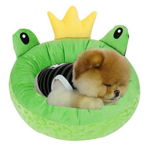 Afbeelding van Pet Supplies Four Seasons afneembaar Pets Nest Cute Cartoon frog Round Shape Cat Dog Nest Bed Large Afmeting:48*48*16cm(groen)