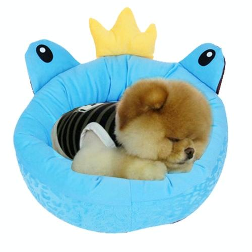Afbeelding van Pet Supplies Four Seasons afneembaar Pets Nest Cute Cartoon frog Round Shape Cat Dog Nest Bed Large Afmeting:48*48*16cm(blauw)