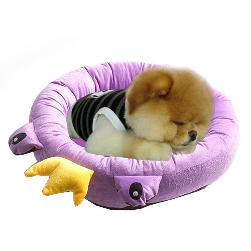 Afbeelding van Pet Supplies Four Seasons afneembaar Pets Nest Cute Cartoon frog Round Shape Cat Dog Nest Bed Large Afmeting:48*48*16cm(paars)