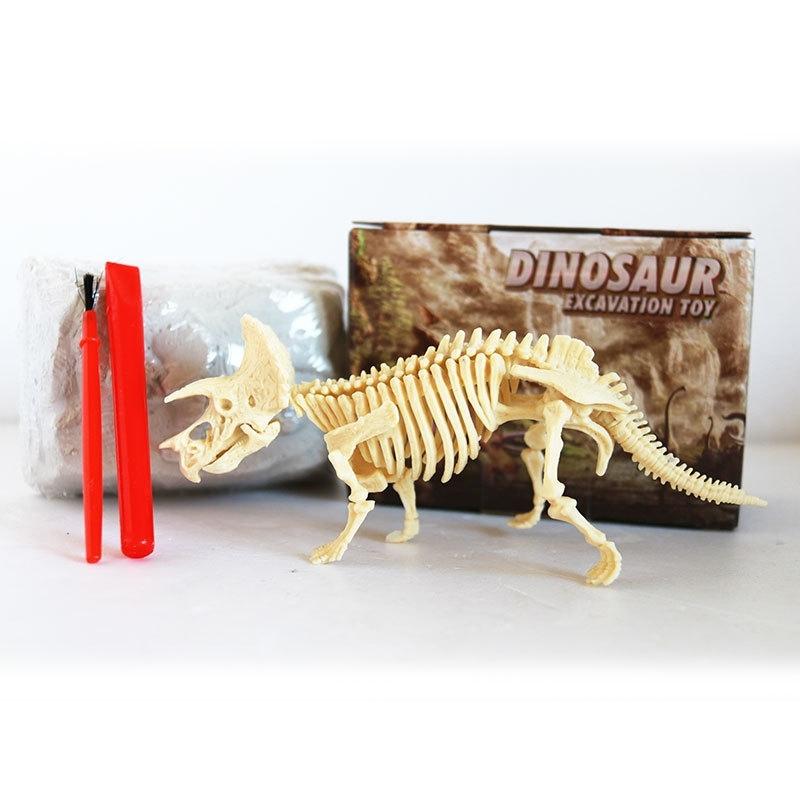 Afbeelding van Geassembleerde Triceratops skelet archeologische opgraving speelgoed simulatie fossiele Model handmatige speelgoed