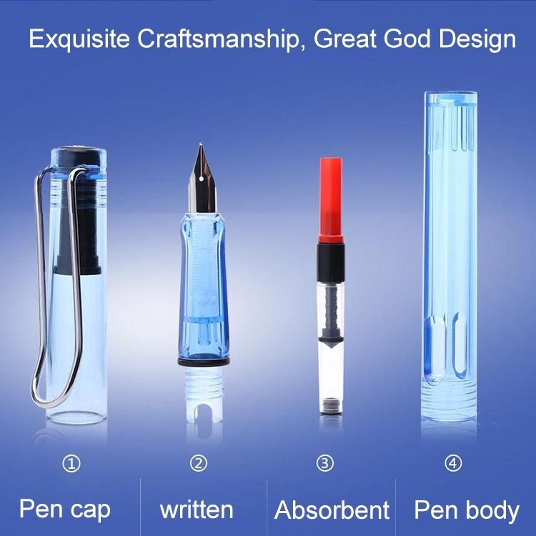 Afbeelding van 3 PC's School Office Extra fijn Titanium legering Nib transparante zuiger fontein Pen(Red) willekeurige levering (0.5mm/0.38mm Nib)