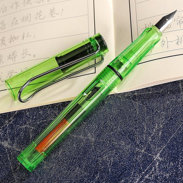 Afbeelding van 3 PC's School Office Extra fijn Titanium legering Nib transparante zuiger Vulpen (duidelijk groen) willekeurige levering (0.5mm/0.38mm Nib)