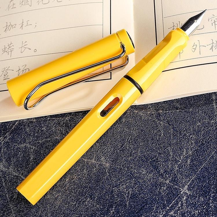 Afbeelding van 3 PC's School Office Extra fijn Titanium legering Nib transparante zuiger fontein Pen(Yellow) willekeurige levering (0.5mm/0.38mm Nib)
