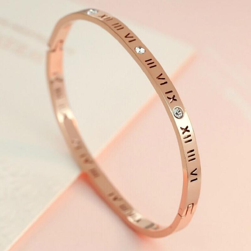 Afbeelding van Unisex Romeinse cijfers snijwerk Crystal ingelegd Titanium Steel Bracelet grootte: 6.2 * 5 8 * 1 cm (Rose goud)
