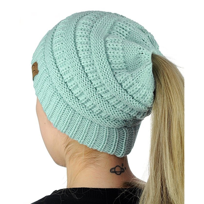 CC Letter Ponytail Cap Knitting Hat for Ladies(Baby Blue)