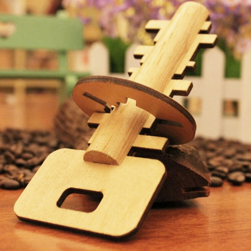 Afbeelding van Verwisselbare Houten steekpuzzel onderwijs speelgoed voor kinderen intelligentie speelgoed Lock ontgrendelen sleutel