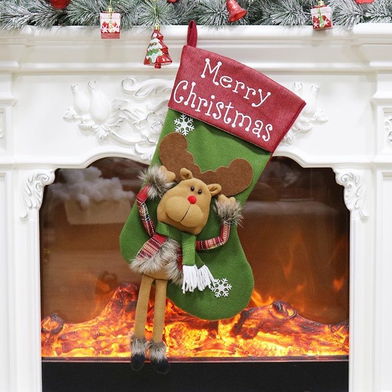 Afbeelding van Christmas Ornament decoratie Elk Merry Christmas Christmas Stocking Gift Bag hanger