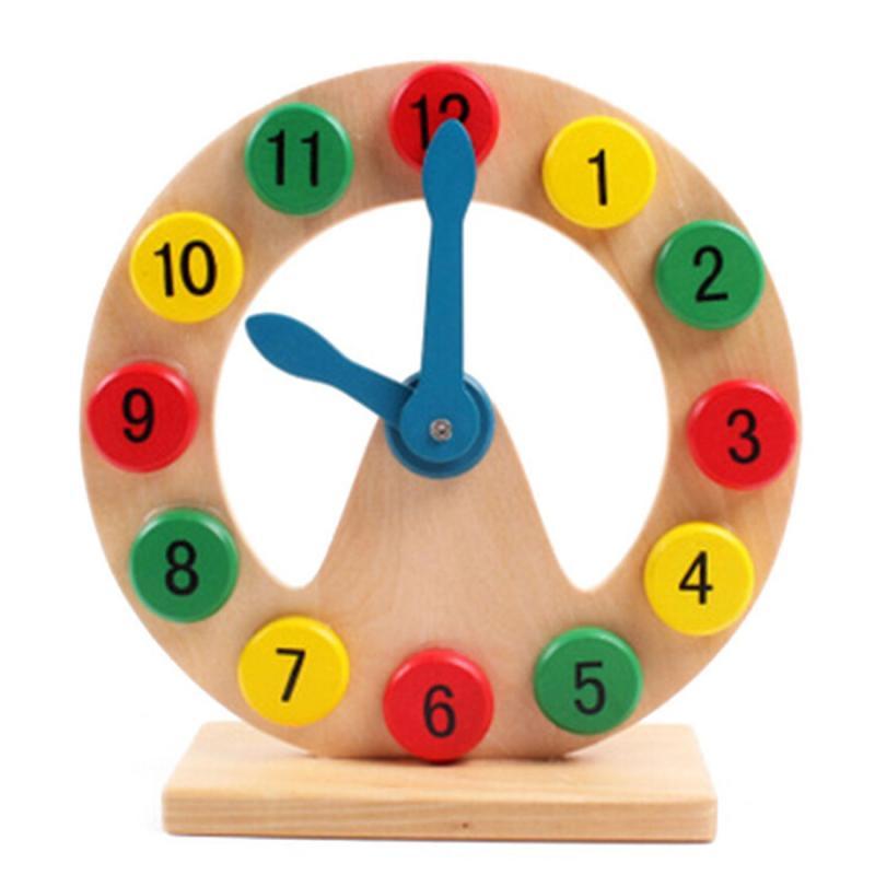 Afbeelding van Kinderen bouwstenen houten aantal overeenkomende geometrie klok educatief speelgoed grootte: 20 5 * 20 5 * 7 cm