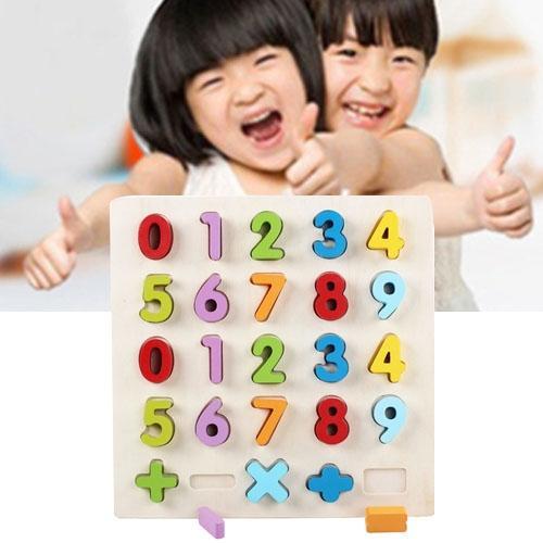 Afbeelding van Regenboog nummer 0-9 stijl kinderen vroeg onderwijs houten bouwstenen speelgoed ouder-kind interactie educatief speelgoed grootte: 32 * 32 * 3 cm