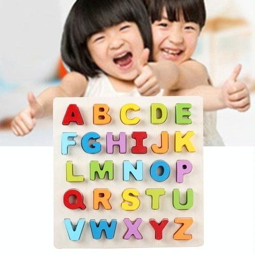 Afbeelding van Regenboog hoofdletter A-Z stijl kinderen vroeg onderwijs houten bouwstenen speelgoed ouder-kind interactie educatief speelgoed grootte: 32 * 32 * 3 cm