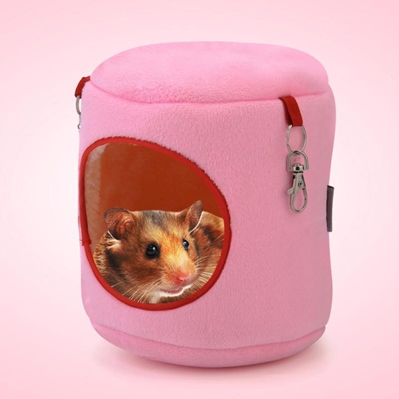 Afbeelding van Flanel cilinder huisdier huis Warm Hamster hangmat opknoping Bed kleine huisdieren Nest S Size:10*9*9cm(Pink)