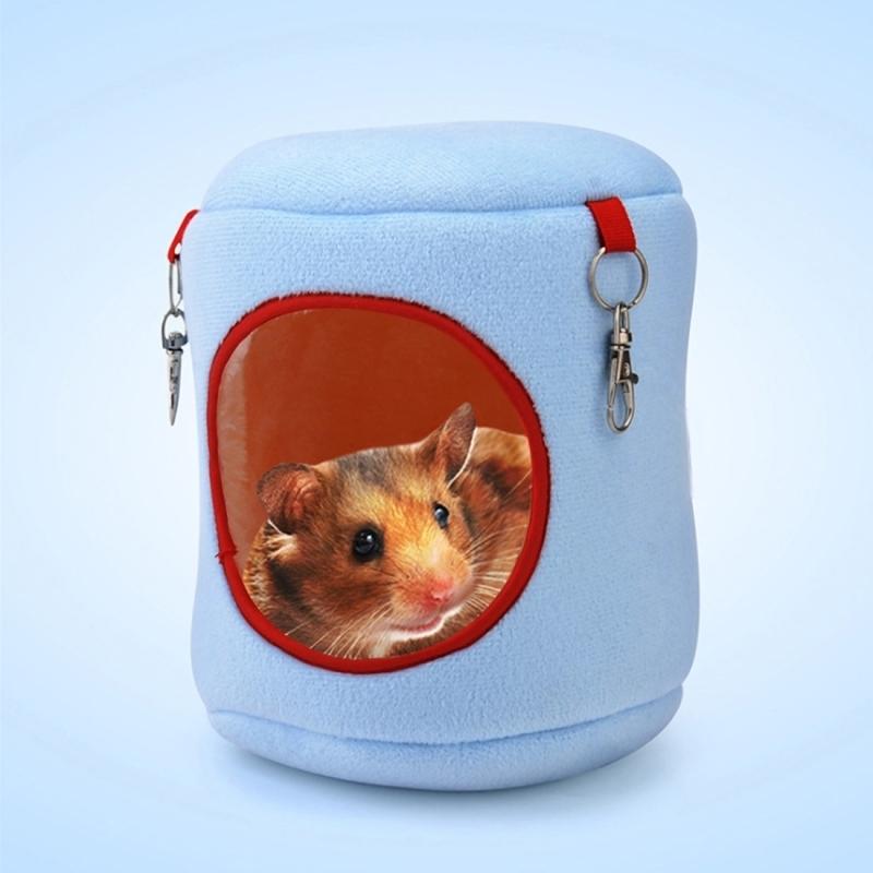 Afbeelding van Flanel cilinder huisdier huis Warm Hamster hangmat opknoping Bed kleine huisdieren Nest S Size:10*9*9cm(Blue)
