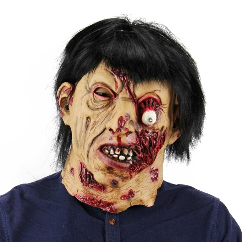 Afbeelding van Halloween Festival partij Latex zwart haar Zombie masker hoofddeksels met haar bang