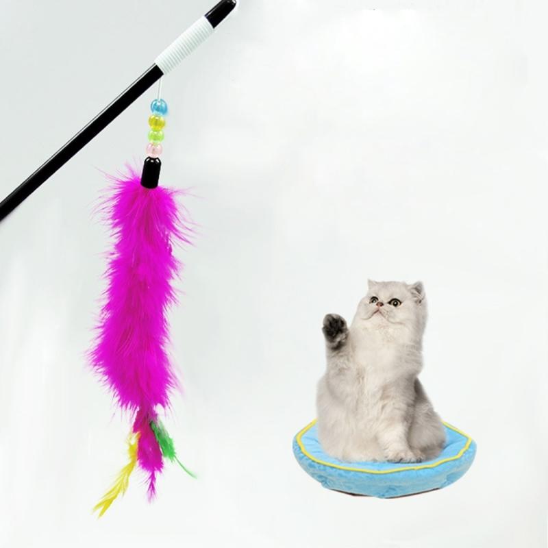 Afbeelding van Zachte lichte konijn haar speelgoed kleurrijke Feather Bar huisdier speelgoed met parels