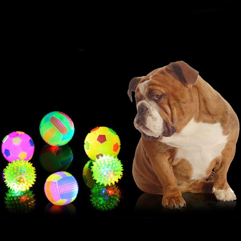 Afbeelding van Hond bal speelgoed ballen voor huisdieren kleur huisdier knipperen bal gloeiende elastische bal hond speelgoed Rubber akoestische Mimo beet speelgoed groot formaat willekeurige kleur vorm levering