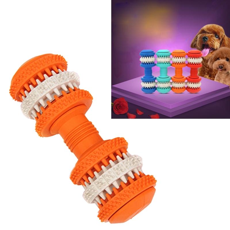 Afbeelding van Hond speelgoed voor huisdieren tand schoonmaken kauwen speelgoed van de vorm van de halters van niet-giftige zacht Rubber groot formaat lengte: 15 cm (oranje)