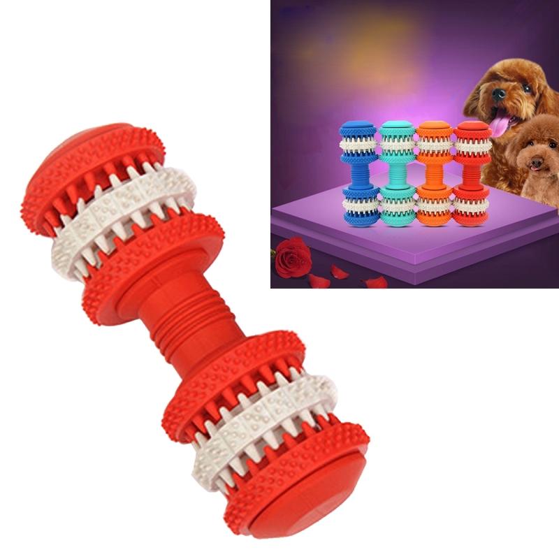 Afbeelding van Hond speelgoed voor huisdieren tand schoonmaken kauwen speelgoed van de vorm van de halters van niet-giftige zacht Rubber groot formaat lengte: 15 cm (rood)