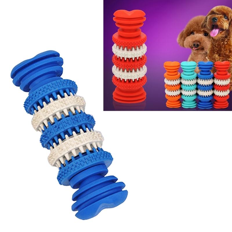 Afbeelding van Hond speelgoed voor huisdieren tand schoonmaken kauwen speelgoed van zacht Rubber niet-toxisch kleine Size Length:12cm(Blue)