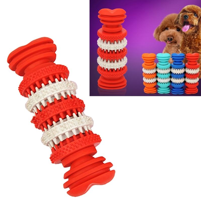 Afbeelding van Hond speelgoed voor huisdieren tand schoonmaken kauwen speelgoed van zacht Rubber niet-toxisch kleine Size Length:12cm(Red)