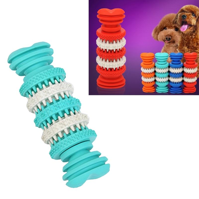 Afbeelding van Hond speelgoed voor huisdieren tand schoonmaken kauwen speelgoed van zacht Rubber niet-toxisch klein formaat lengte: 12 cm (Baby blauw)