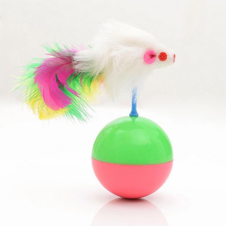 Afbeelding van Duurzame huisdier kat favoriete speelgoed Feather muis Tumbler Plastic speelgoed ballen Diameter: 5.5cm