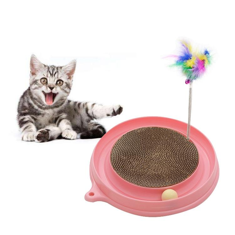 Afbeelding van Kat favoriete Amusement plaat grappig bal Feather speelgoed kat voorjaar gegolfd papier krabben berichten huisdier speelgoed willekeurige kleur levering Diameter: 40cm