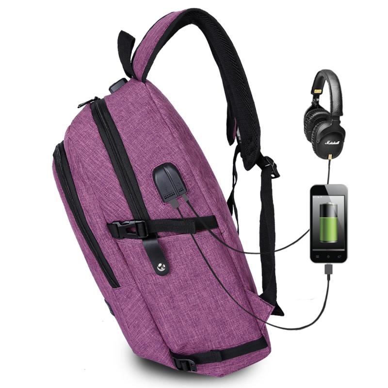 Afbeelding van Multifunctionele grote capaciteit Casual rugzak Laptop Computer reistas met externe USB lading Interface & hoofdtelefoonaansluiting & anti-diefstal slot voor Men(Purple)