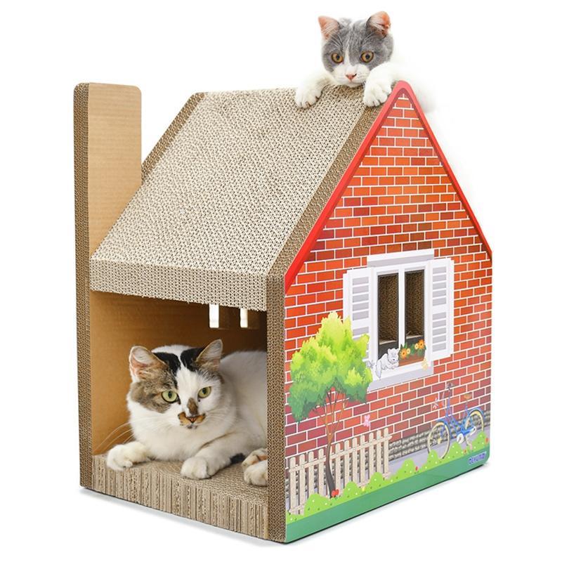 Afbeelding van CP-187 schoorsteen huis vormige kat Draagstoel gegolfd papier kat kras Board slijpen klauw speelgoed