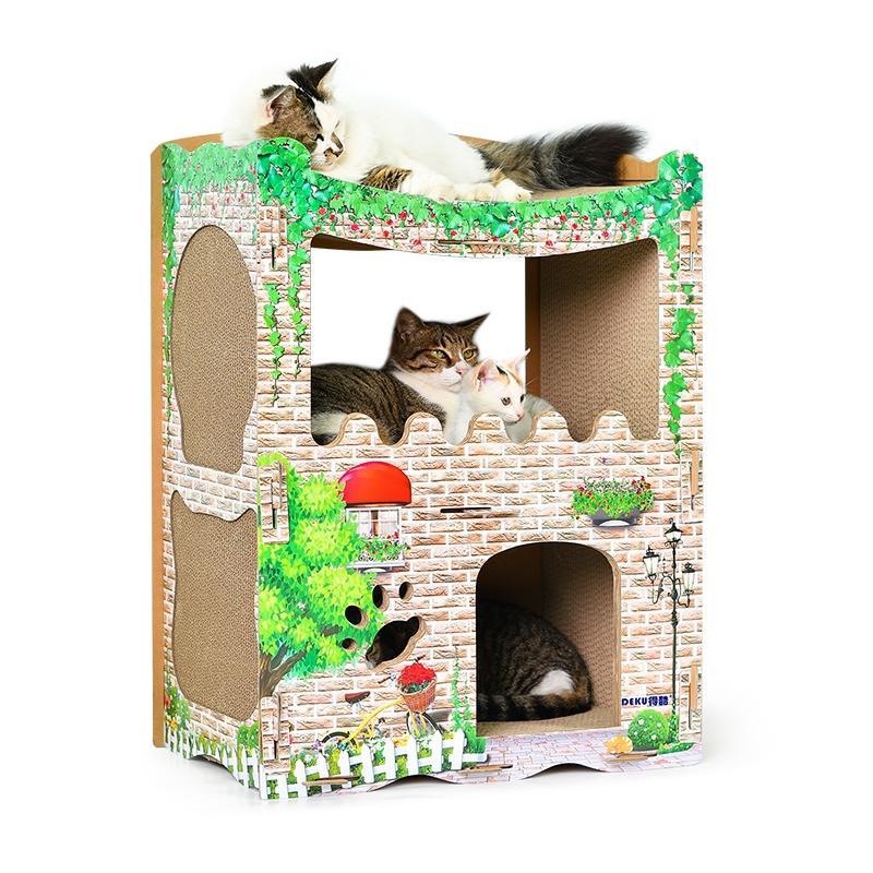 Afbeelding van CP-252 gedrukte kat westelijk-stijl huis gegolfd papier kras Board kattendraagstoel van de kat slijpen klauw speelgoed