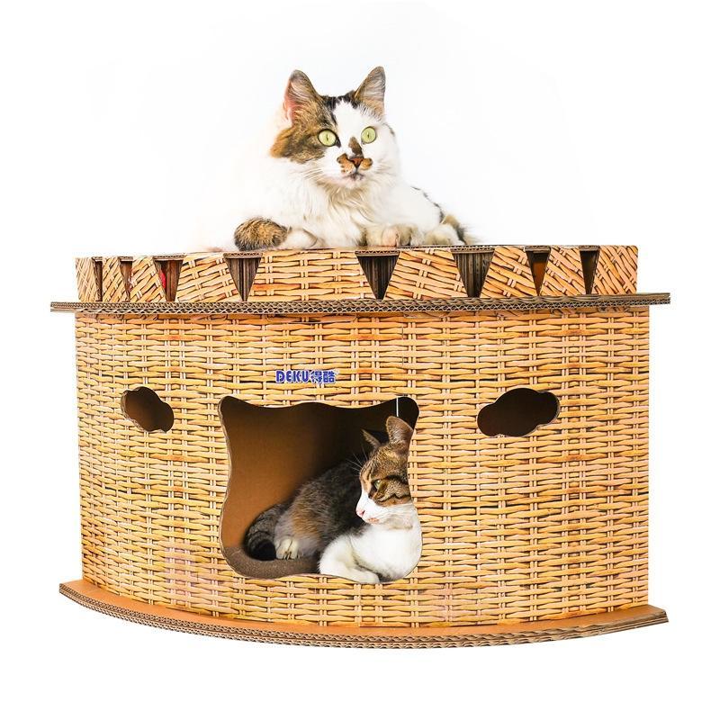 Afbeelding van CP-202 hoek Sector kat huis kat Draagstoel gegolfd papier Cat Scratch Board slijpen klauw speelgoed