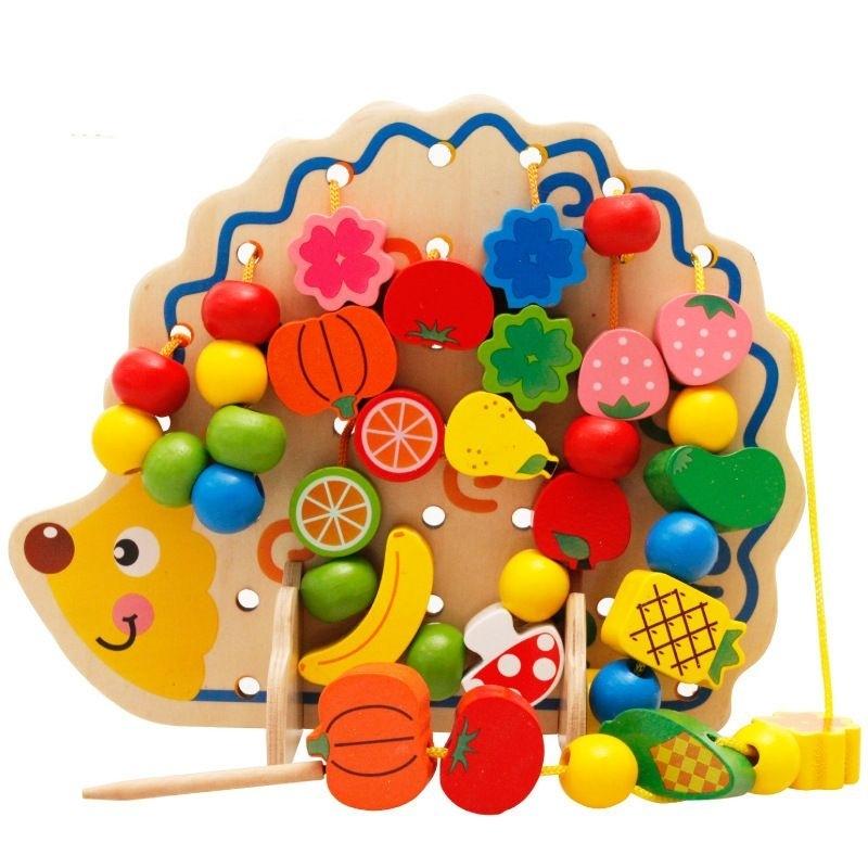 Afbeelding van Vroege leren onderwijs houten speelgoed Hedgehog Fruit kralen kind Hand oog coördinatie vaardigheden ontwikkelen educatief speelgoed voor kinderen